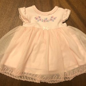 Little Me pink dress with flower embroidery